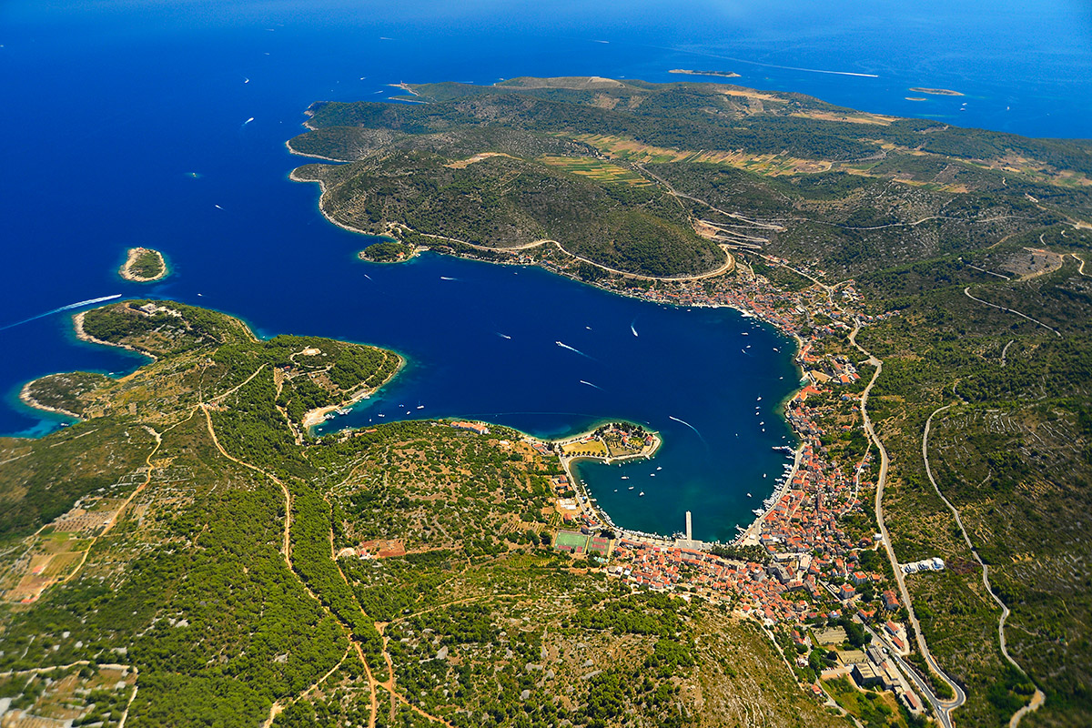 Panoramic shot of the town of Vis on the island of Vis