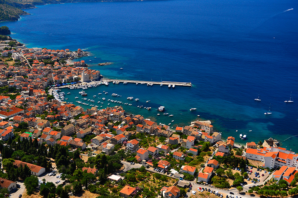 Panoramic shot of the bay of the town of Komiža on the island of Vis