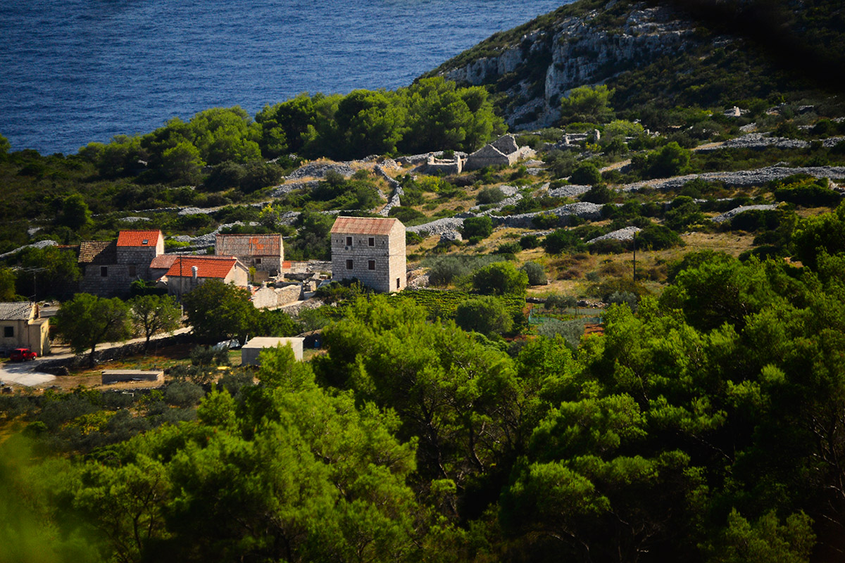 Old stone houses on the island of Vis, in a village overlooking the open sea