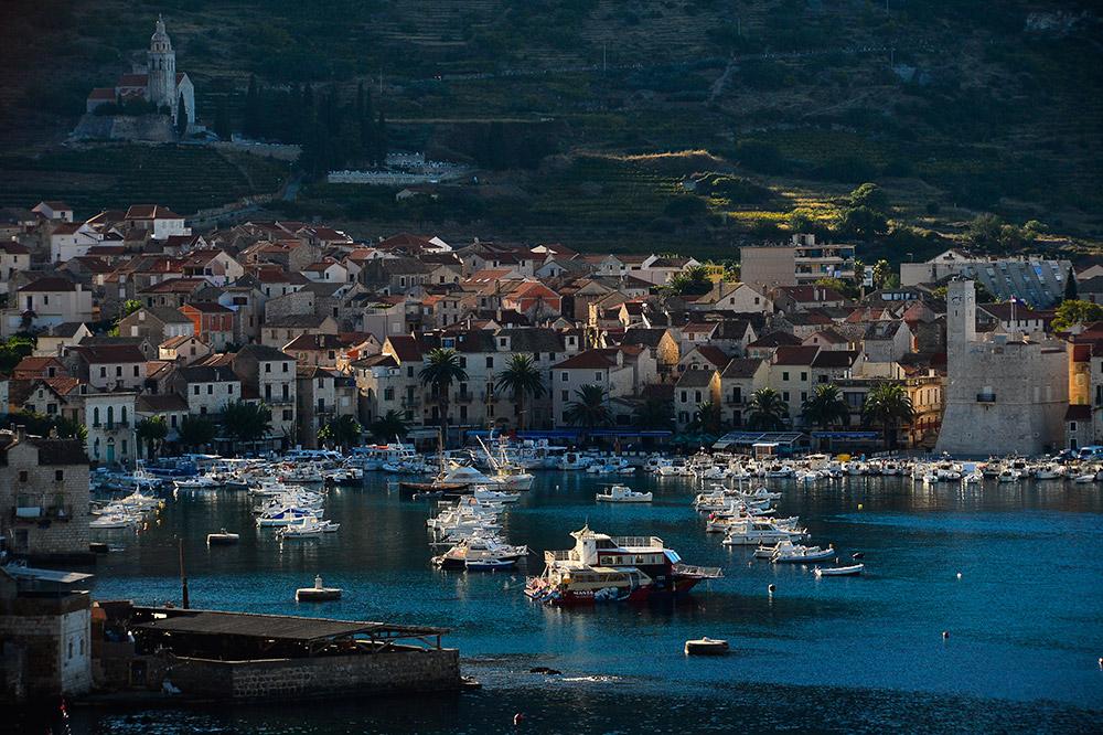 Night panoramic shot of the town of Komiza on the island of Vis