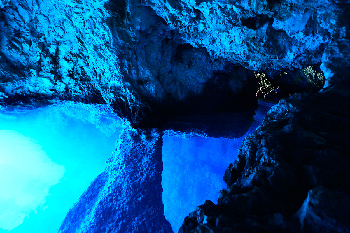 The interior of the blue cave on the island of Biševo