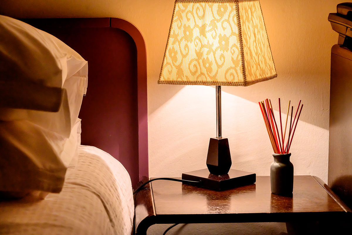 Detail from the hotel room, ambient lamp on the nightstand