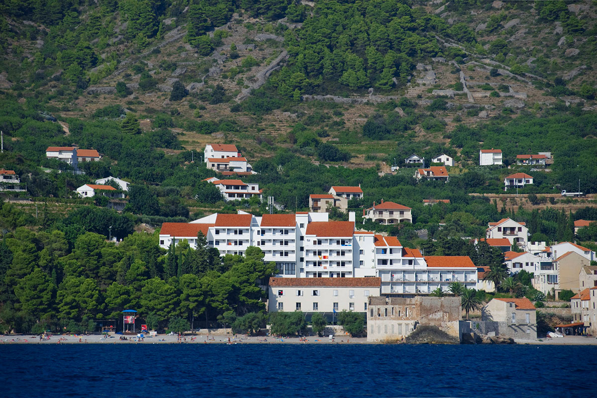 View from the sea on the whole complex of Hotel Biševo