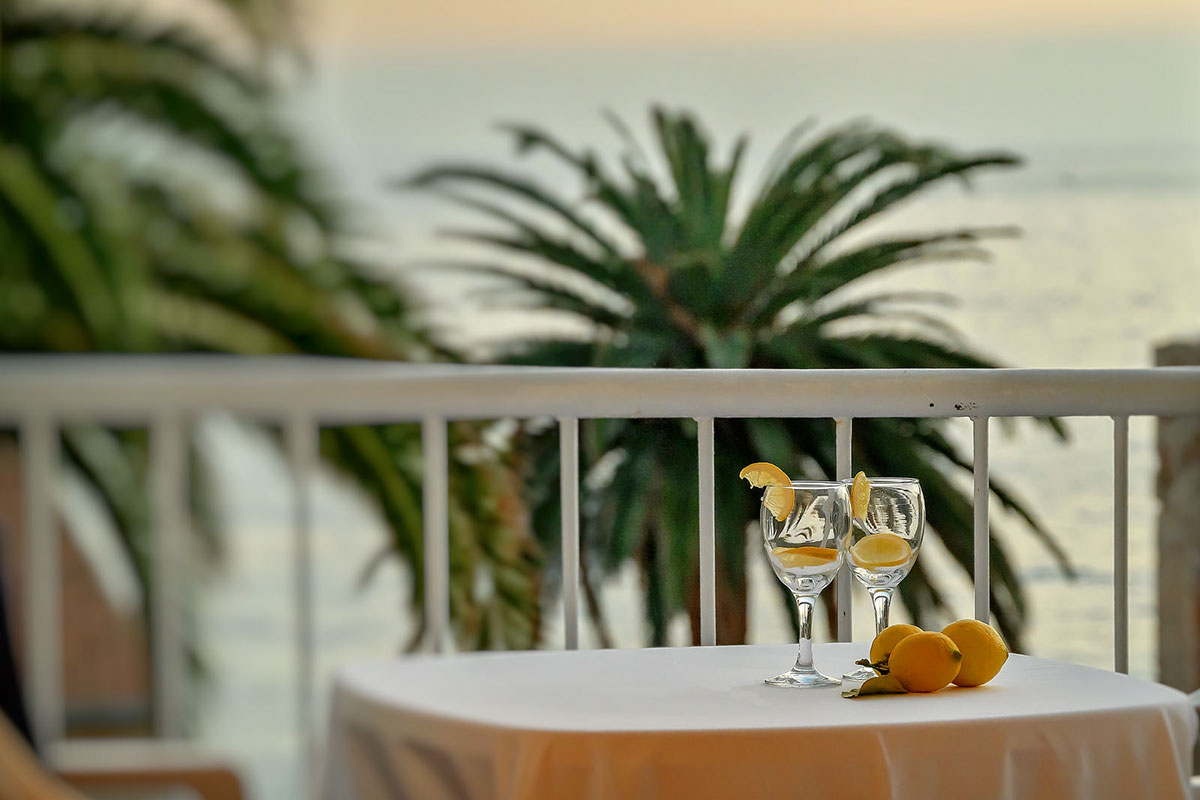Balcony from the room where there is a table with two glasses and a view of palm trees and the open sea