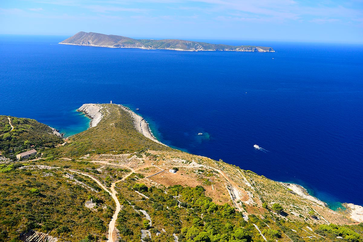 Spectacular view of the island of Biševo from the island of Vis